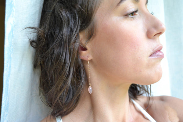 Blush Pink Chalcedony Gemstone Earrings - 14K Rose Gold Filled-Sela+Sage