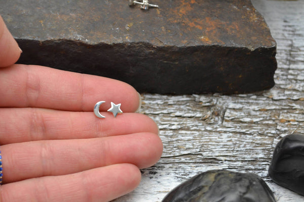 Solid Sterling Silver Star and Moon Earring-Sela+Sage