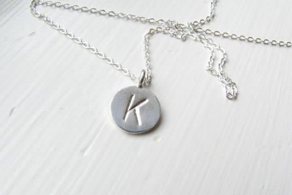 Letter Pendant, Initial Necklace - Sterling Silver-Sela+Sage