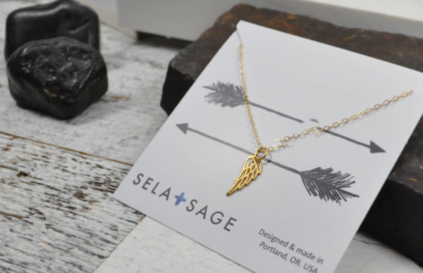 Dainty Wing Necklace, Miscarriage Gift - 14K Gold Filled-Sela+Sage
