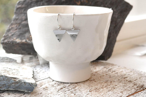Labradorite Earrings, Silver Triangle Earrings - Sterling Silver-Sela+Sage