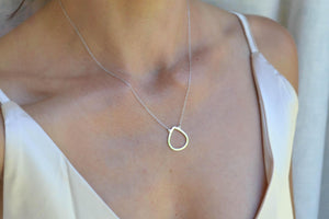 Open Teardrop Necklace - Sterling Silver-Sela+Sage