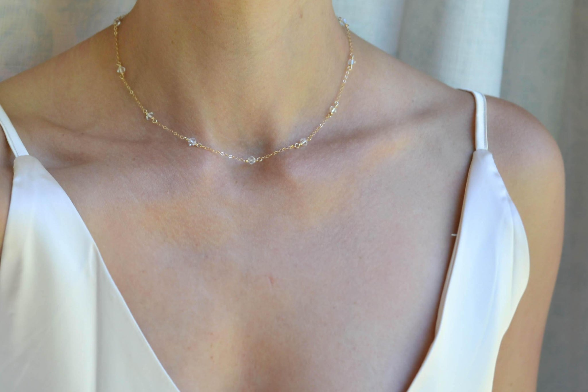 Crystal Station Necklace, Tin Cup Necklace - 14K Gold Filled-Sela+Sage