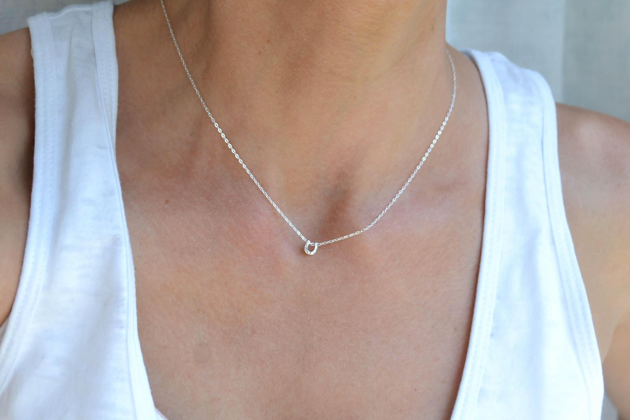 Tiny Horseshoe Necklace - Delicate Sterling Silver-Sela+Sage