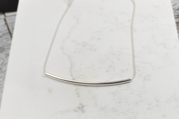 Snake Chain, Unique Long Bar Necklace - Sterling Silver-Sela+Sage