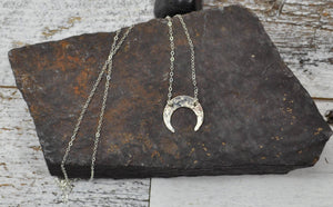 Hammered Crescent Necklace - Sterling Silver-Sela+Sage