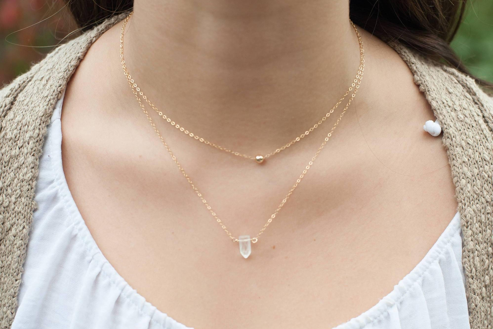 Tiny Crystal Healing Necklace - 14K Gold or Sterling Silver-Sela+Sage