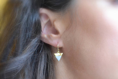 Labradorite Earrings, Gold Triangle Earrings - 14K Gold Filled-Sela+Sage