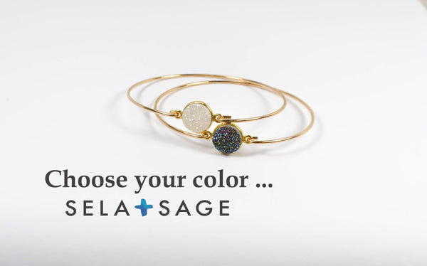 Natural Druzy Bangle Bracelet Stack, Custom Color - 14K Gold Filled-Sela+Sage