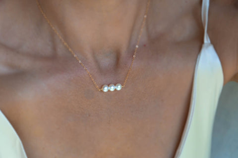Three Pearl Necklace - 14K Gold Filled or Sterling Silver-Sela+Sage