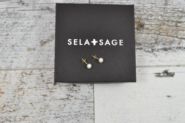 Small, Real Pearl Studs - Sterling Silver-Sela+Sage
