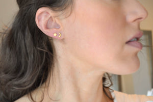 Star and Moon Stud Earrings - 14K Gold Filled-Sela+Sage
