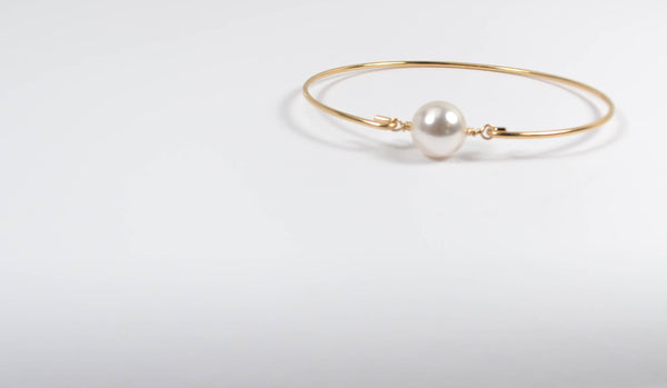Freshwater Pearl Bangle Bracelet - 14K Gold Filled-Sela+Sage