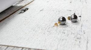 Large Black Pearl Studs - 14K Gold Filled-Sela+Sage