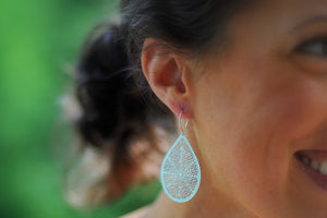 Large Silver Filigree Earrings-Sela+Sage