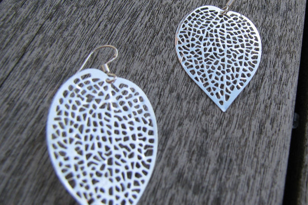 Silver Leaf Filigree Earrings - Sterling Silver-Sela+Sage
