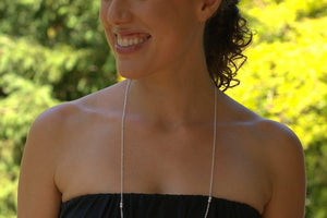 Long Pearl Necklace - Sterling Silver-Sela+Sage