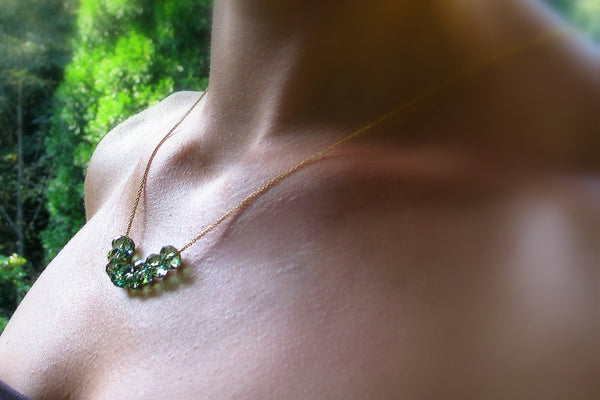 Emerald Crystal, Swarovski Crystal Necklace - 14K Gold Filled-Sela+Sage