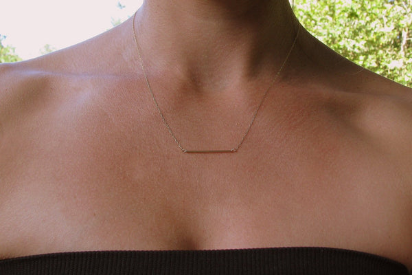 14K Gold, Minimal Gold Bar Necklace, Thin Gold Bar, Simple Gold Tube, Delicate Gold, Bridesmaid Necklace Gold,  Delicate Chain, Straight