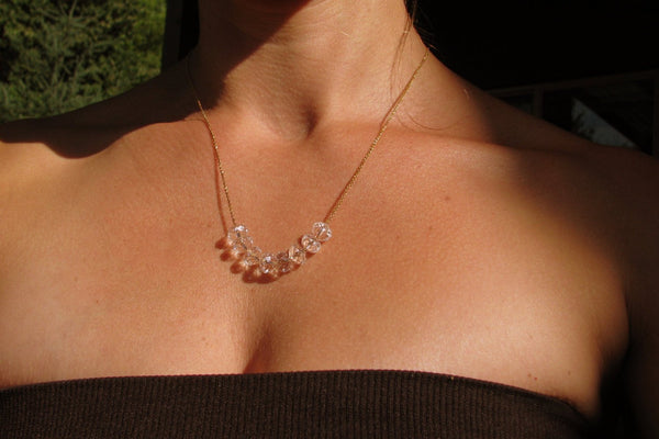 "Swarovski Crystal ""Carrie Necklace"" - 14K Gold Filled-Sela+Sage"