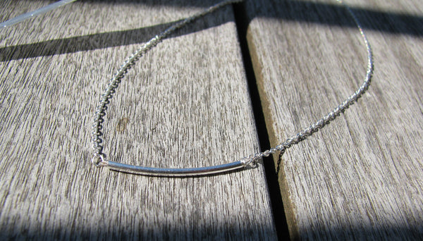 Silver Curved Bar Necklace, Silver Bar Necklace Thin Bar Chain Necklace - Sterling Silver-Sela+Sage