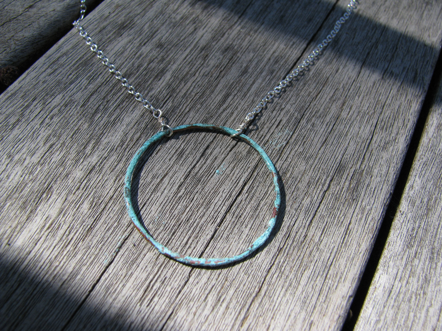 Copper Patina Verdigris Circle Necklace - Sterling Silver
