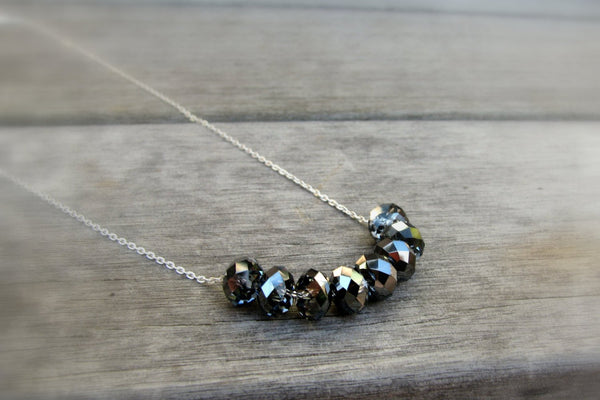 Iridescent Gray / Black Crystal Necklace - Sterling Silver-Sela+Sage
