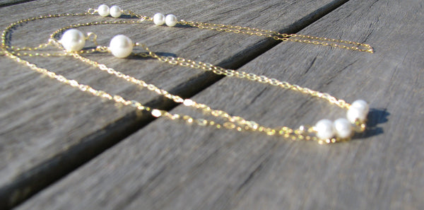 Bridal Pearl Back Necklace, Backdrop, Backlace- 14K Gold Sterling Silver-Sela+Sage