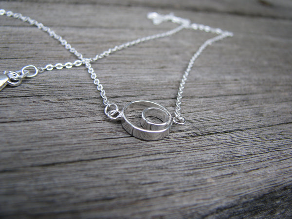 Sterling Silver Double Circle Infinity Necklace, Interlocking Circles, Silver Circle, Eternity Necklace, Two Circles, Ring Necklace, Forever