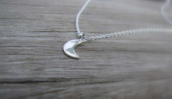 Petite Crescent Moon Necklace - Sterling Silver-Sela+Sage