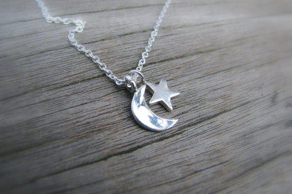 Star and Crescent Moon Necklace - Sterling Silver-Sela+Sage
