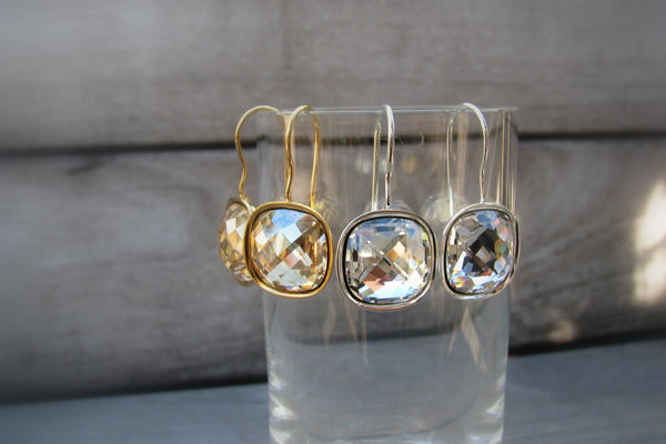 Gold Cushion Cut Earrings, Champagne CZ Diamond-Sela+Sage