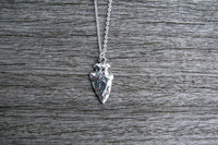 Solid Sterling Silver Arrowhead Necklace Silver Arrow Necklace Hammered Silver Necklace Silver Arrowhead Pendant Boho Tribal Necklace, Spear