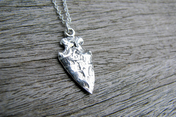 Arrowhead Charm Necklace - Sterling Silver-Sela+Sage