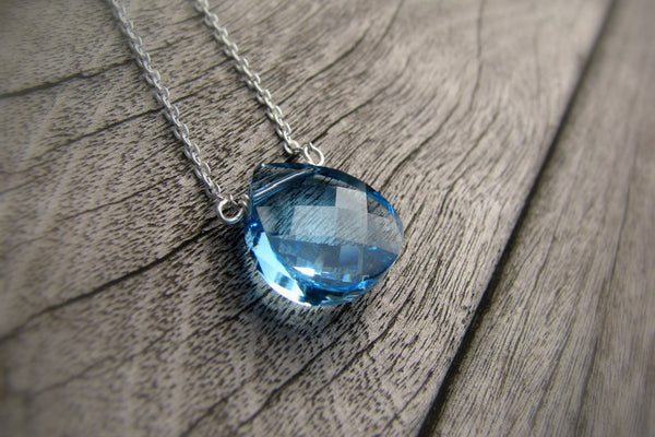 Crystal Aquamarine Necklace, March Birthstone Necklace - Sterling Silver-Sela+Sage