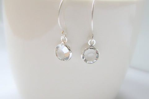 Swarovski Crystal Earrings, Clear Crystal, Small - Sterling Silver-Sela+Sage