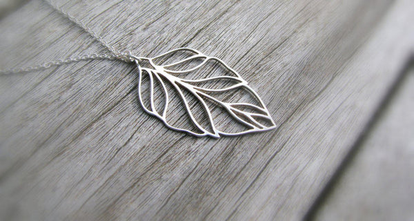Long Filigree Leaf Necklace - Sterling Silver-Sela+Sage