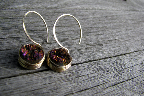 Purple Druzy Earrings - 14K Gold Filled-Sela+Sage