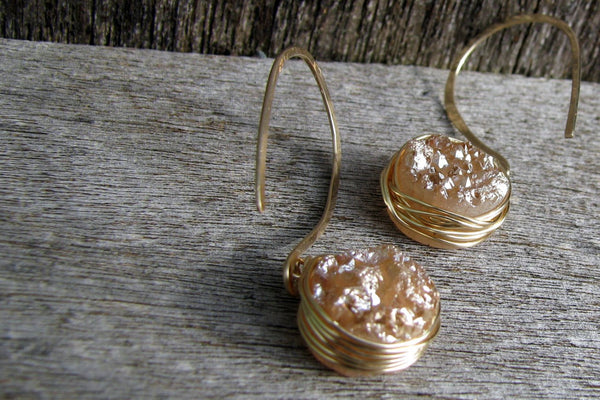Peach Druzy Earrings with Wire Wrap - 14K Gold Filled-Sela+Sage