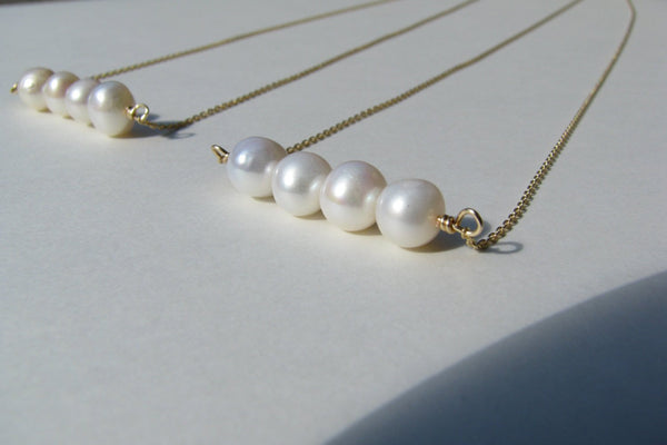 Natural Pearl Bar Necklace - Freshwater Pearl, 14K Gold Filled-Sela+Sage