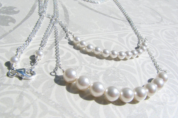 Multi Strand White Pearl Necklace, Sterling Silver, Swarovski Pearl, Layered Pearl Bridal Necklace, Double Strand Pearls, Bridesmaid Present-Sela+Sage