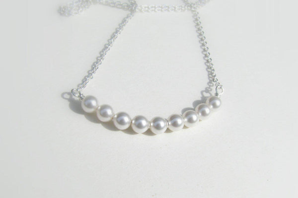 Simple Pearl Necklace - Sterling Silver-Sela+Sage