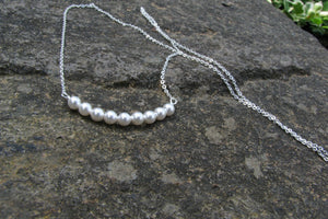 Tiny Pearl Necklace - Sterling Silver-Sela+Sage