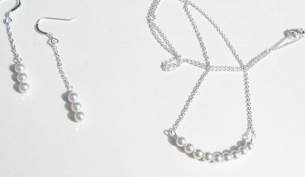 Simple Pearl, Sterling Silver Necklace, White Pearl, Single Strand of Pearls - Silver Pearl  -  Bridal Party - Swarovski, Bridesmaids Gift