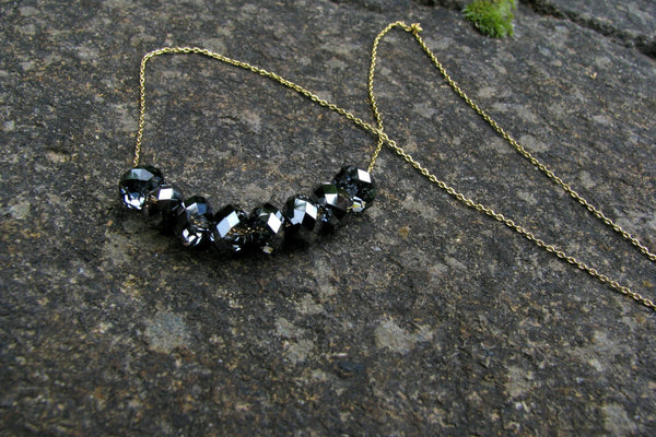 Black Crystal Necklace - 14K Gold Filled-Sela+Sage