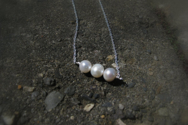 Three Pearl Necklace - Sterling Silver-Sela+Sage