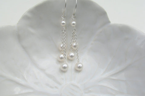 Three Pearl Drop Earrings - 14K Gold Filled or Sterling Silver-Sela+Sage