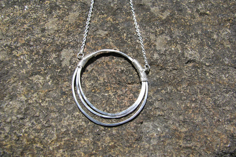 Hammered Silver Necklace - Sterling Silver-Sela+Sage