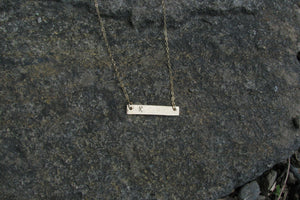 Hammered Initial Bar Necklace - 14K Gold Filled-Sela+Sage
