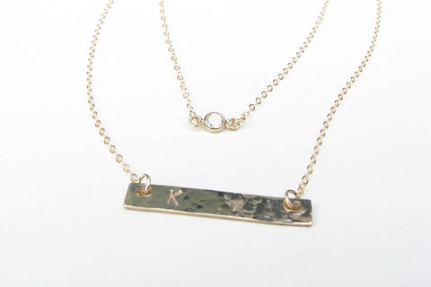 Layered Initial Necklace with Bar and CZ Pendant - 14K Gold Filled-Sela+Sage